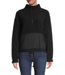rd style women's faux fur textured fleece pullover - black - size l