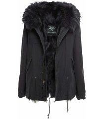 exclusive fw20 icon parka: black mini parka patch fox raccoon fur