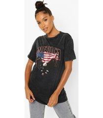 acid wash gebleekt amerika t-shirt, charcoal