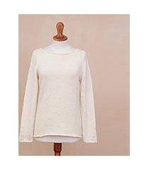 100% alpaca sweater, 'alabaster elegance' (peru)