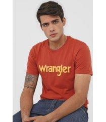 camiseta wrangler logo laranja - kanui