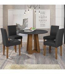 mesa de jantar 4 lugares isabela giovana 100% mdf ypê/preto - new ceval