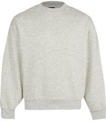 river island mens grey oversized long sleeve sweatshirt