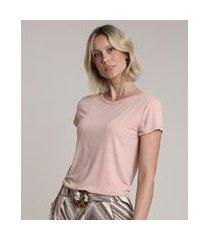 blusa feminina básica com botões manga curta decote redondo rosê