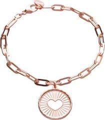 bracciale con charm cuore in bronzo rosato per donna