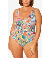 bleu by rod beattie plus size printed keyhole one-piece swimsuit women's swimsuit