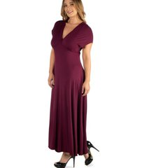 24seven comfort apparel empire waist v-neck plus size maxi dress