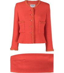chanel pre-owned two-piece skirt suit - orange