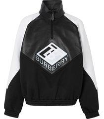 burberry logo graphic funnel neck track top - black