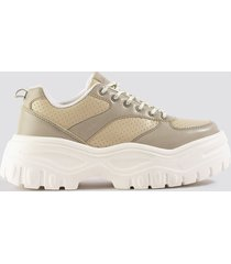 na-kd shoes profile sole sneakers - beige