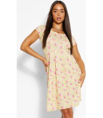 ditsy floral cap sleeve skater dress, yellow