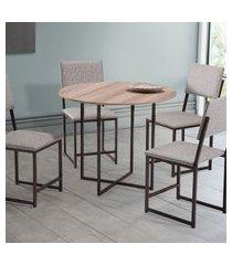 mesa de jantar redonda estilo industrial novabras liz 90cm