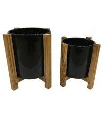 duo de cachepots de cerâmica e suporte de madeira preto g