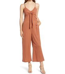 women's chelsea28 sleeveless tie front jumpsuit, size xx-large - brown