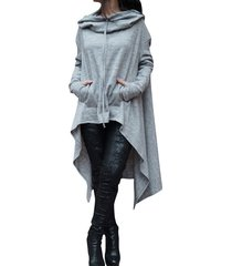 women fashion draw cord coat long sleeve loose casual poncho coat hoodies blue