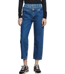 women's sandro kitty double waist crop nonstretch jeans, size 4 us - blue