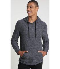 blusão masculino em moletom com capuz e bolso cinza mescla escuro