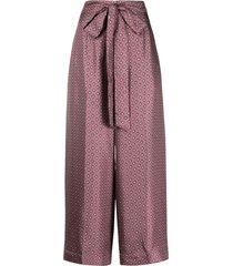 's max mara silk cropped palazzo trousers - purple