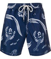 polo ralph lauren short de natação com estampa de sereia - azul