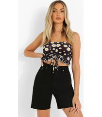 bandeau crop top met ruches en opdruk, white