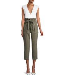 bcbgeneration women's woven paperbag pants - olive - size m