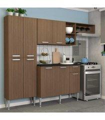 cozinha completa compacta com armário e balcão com tampo lisboa multimóveis carvalho avelã