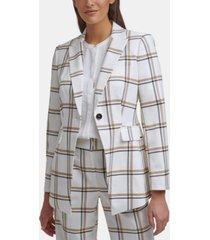 calvin klein plaid one-button jacket