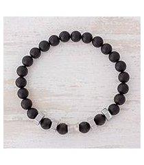 men's agate stretch bracelet, 'moonlit sky' (costa rica)