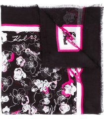 karl lagerfeld orchid print square scarf - black