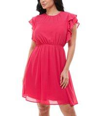 monteau petite flutter-sleeve illusion dress