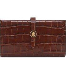 burberry monogram motif embossed folding wallet - brown