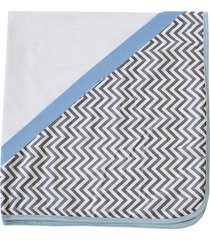 manta enxoval de malha padroeira baby chevron azul