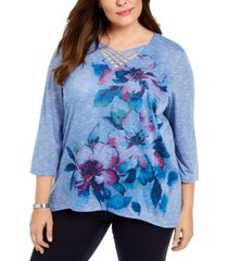 alfred dunner plus size autumn harvest beaded lattice-neck top