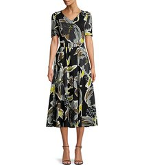 lafayette 148 new york women's roland silk floral dress - black multi - size 12