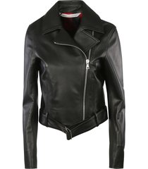 palm angels sprayed logo leather jacket