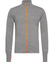 100% wool klemens zip kontrast stickad tröja cardigan grå mads nørgaard
