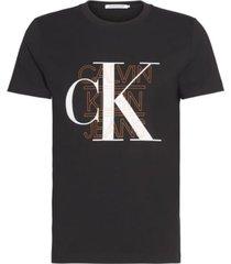 camiseta slim con logo gráfico negro calvin klein
