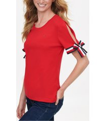 tommy hilfiger cotton split tie-sleeve top, created for macy's