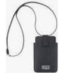 maison margiela black leather smartphone case with shoulder strap