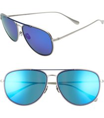 maui jim fair winds 58mm polarized navigator sunglasses in silver matte/navy at nordstrom