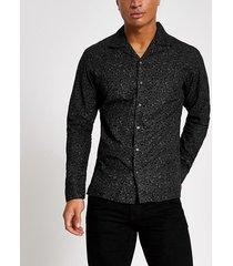 mens jack and jones black leopard print shirt