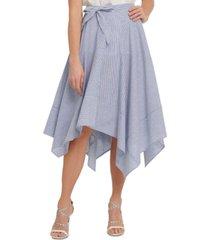 dkny striped asymmetrical-hem linen skirt