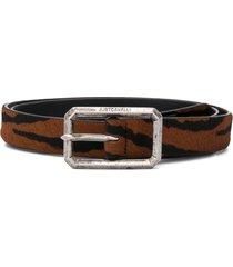 just cavalli animal-print leather belt - brown