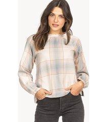 lilla p shirred neck blouse