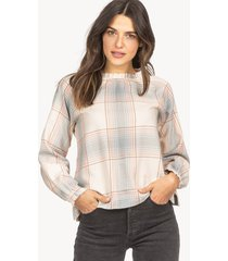 lilla p shirred neck blouse