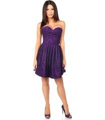 plum steel boned satin & lace empire waist corset dress regular & plus size