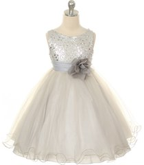 silver sequined bodice flower girl dresses birthday pageant bridesmaid wedding