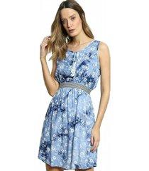 vestido bontie dye floral azul claro