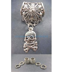 us seller-cross bone skull death pendant slider scarf ring scarf slides jewelry