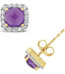 amethyst (1 ct. t.w.) and created white sapphire (1/5 ct. t.w.) halo stud earrings in 10k yellow gold. also available in garnet (1-1/2 ct. t.w.) and blue topaz (1-1/3 ct. t.w.)